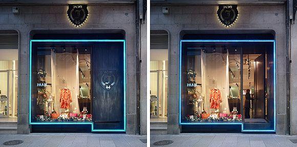Concepto de iluminación de prisma de fachada de la boutique Jacme en Ourense