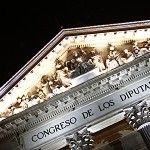 Iluminación de la fachada principal del Palacio de Las Cortes