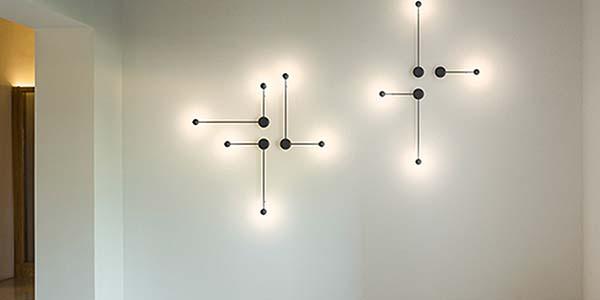 Lámpara de pared PIN de Vibia, interacción de formas geométricas