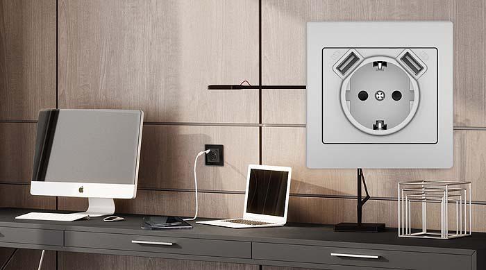 Nueva base de enchufe Schuko® con doble cargador USB de BJC